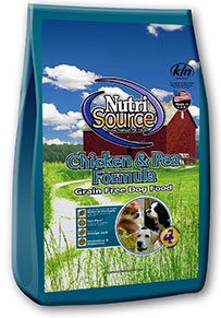 NutriSource Grain Free Chicken and pea grain free Diet.