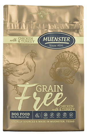 Muenster Grain Free Dog Food savings at Wells Brothers, Pet, Lawn and Garden Center in Plano, Texas.
