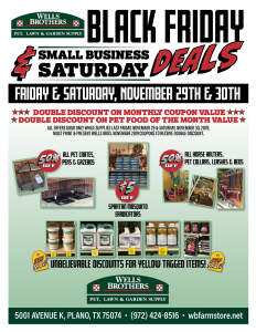 Black Friday & Small Business Saturday Deals at Wells Brothers in Plano, Texas.