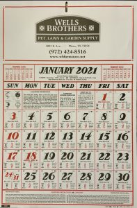 2021 Almanac Calendar is here at Wells Brothers, Pet, Lawn, and Garden Supply in Plano, Texas.